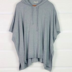 LOFT Oversized Gray Hooded Poncho Sweater